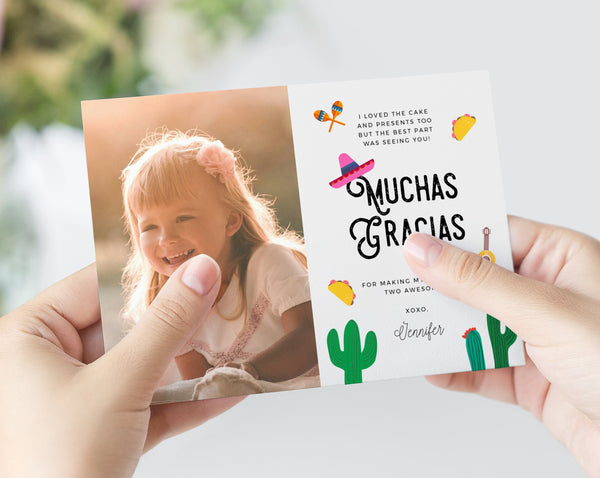 Taco Twosday Thank You Card Template, Thank You Photo Card, Fiesta Themed Birthday Card, 2nd Birthday, Templett