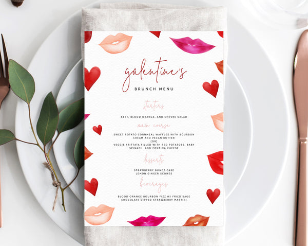 Galentine's Brunch Menu Template, Printable Menu, Editable Galentine's Day Menu, Blush Floral Galentine's Menu, Templett