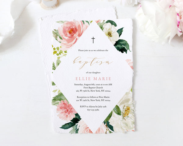 Blush Floral Baptism Invitation Template, Printable Floral Baby Baptism Invitation, Blush Flowers Invite Template, Templett, B29
