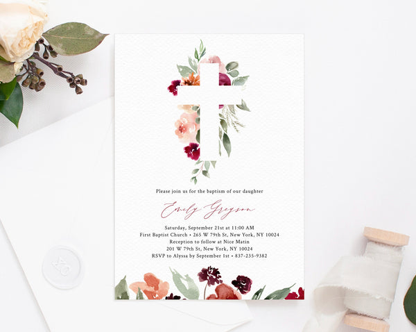 Burgundy Floral Baptism Invitation Template, Printable Floral Baby Baptism Invitation, Burgundy and Blush Invite Template, Templett, B45