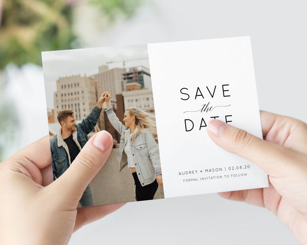 Save the Date Template, Save the Date with Pictures Template, Engagement Photo Save the Date Card, Instant Download, Templett, W02