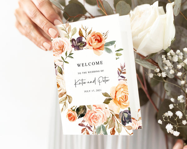 Bi-Fold Rustic & Nude Warm Floral Wedding Program Template, Printable Folded Wedding Program Booklet, Templett, W51