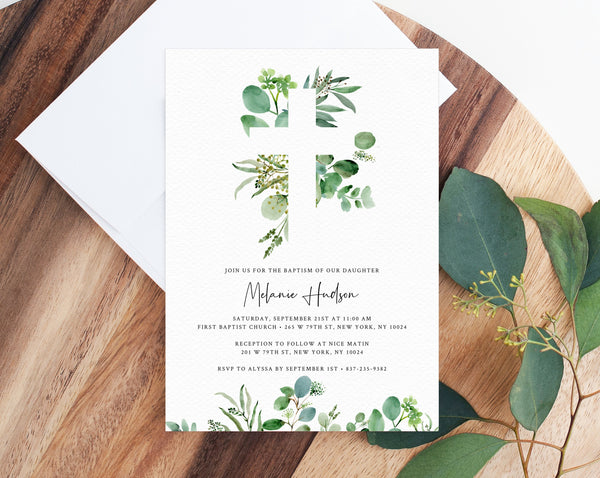 Greenery Baptism Invitation Template, Printable Cross Baptism Invitation, Eucalyptus Greenery Baptism Invite Template, Templett, B48