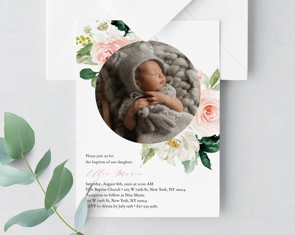 Blush Baptism Invitation Template, Printable Floral Baby Baptism Invitation with Photo, Blush Flowers Baptism Invite Template, Templett, B29