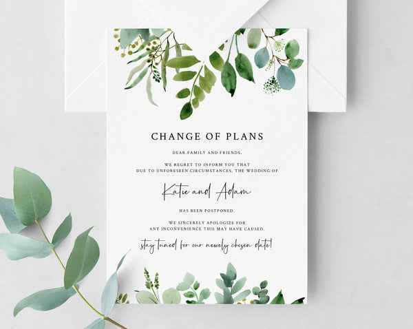 Postponed Wedding Announcement, Printable Greenery Wedding Postponement, Change of Plans, Wedding Cancellation, Date Change, Insert, W48