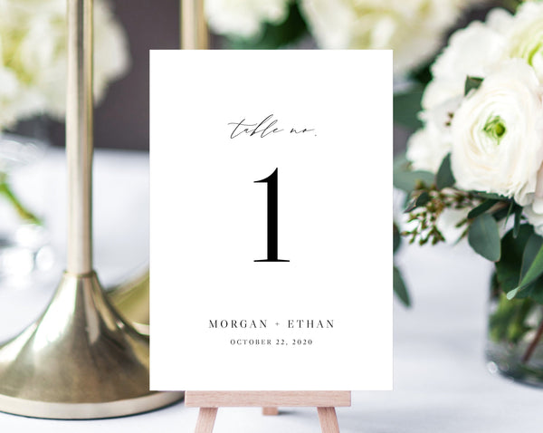 Wedding Table Numbers Template, Printable Minimalist Wedding Table Numbers, Simple Table Number Card Template, DIY, Templett, W52