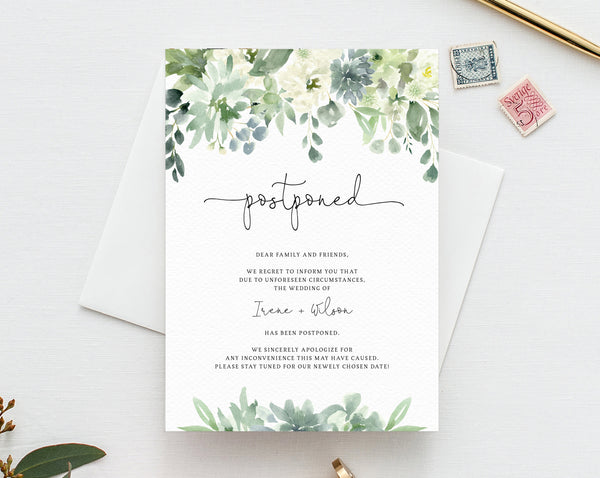 Postponed Wedding Announcement, Printable Succulent Wedding Postponement, Change of Plans, Wedding Cancellation, Date Change, Insert, W48