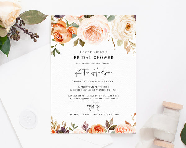 Rustic & Nude Bridal Shower Invitation Template, Printable Bridal Shower Invite, Warm Floral Bridal Invitation, Templett, W51