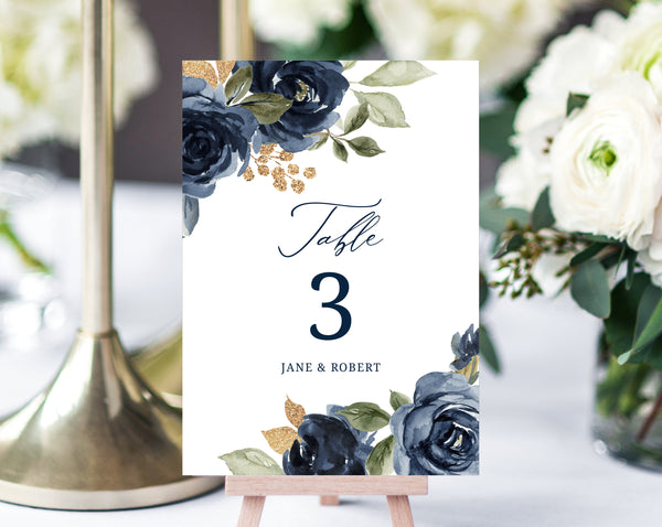Navy & Gold Floral Wedding Table Number Template, Printable Navy Wedding Table Numbers, Floral Table Numbers Card Template, Templett, W27