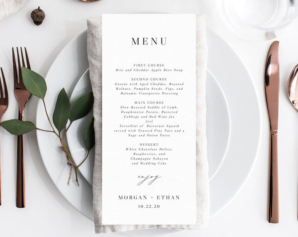 Wedding Menu Template, Printable Wedding Menu, Minimalist Wedding Menu, Simple Wedding Menu, DIY Menu, Instant Download, Templett, W52