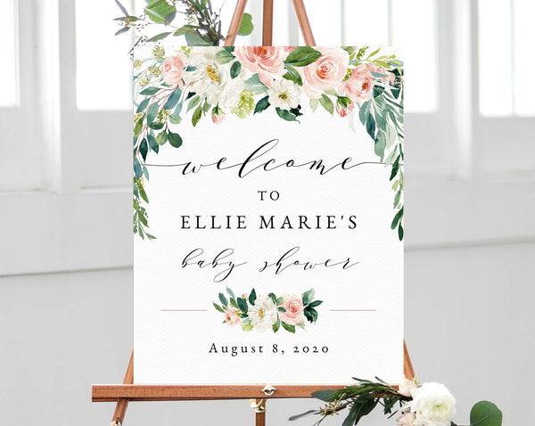 Welcome Sign Template, Blush Pink Baby Shower Welcome Sign, Printable Welcome Sign, Watercolor Blush Floral Welcome Sign, Templett, B29