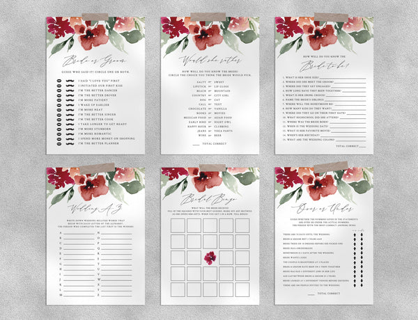 Bridal Shower Game Templates Bundle, Fall Floral Bridal Shower Games Instant Download, Engagement Party, Wedding Shower, Templett, W45