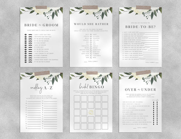 Bridal Shower Game Templates Bundle, White Floral Bridal Shower Games Instant Download, Engagement Party, Wedding Shower, Templett, W19