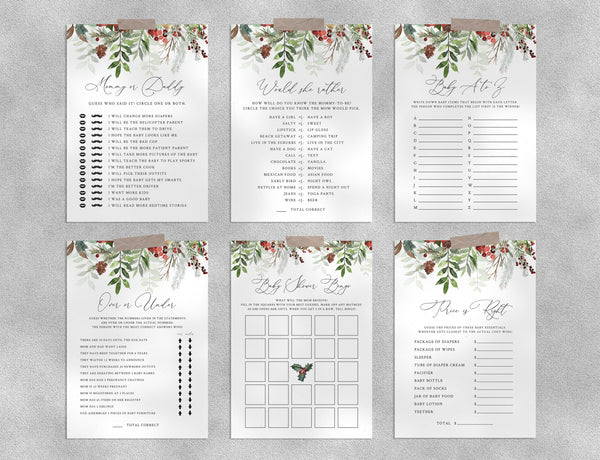 Christmas Baby Shower Game Templates Bundle, Winter Baby Shower Games Instant Download, Holidays Themed, Templett