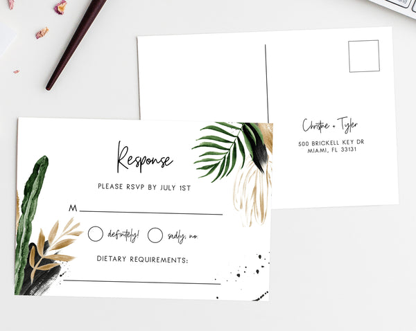 RSVP Postcard Template, Printable RSVP Insert, Tropical Wedding RSVP Card, Palm Response Post Card, Templett, W44