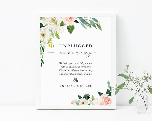 Blush Floral Unplugged Ceremony Sign Printable, Blush Wedding Unplugged Ceremony, Switch Cellphone, Devices Away, Templett, W29
