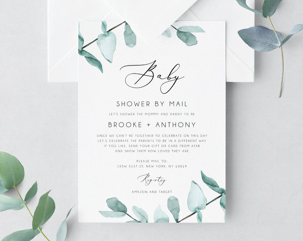 Baby Shower By Mail Template, Social Distancing, Eucalyptus Baby Shower Invitation, Long Distance Baby Shower Template, Templett, B21