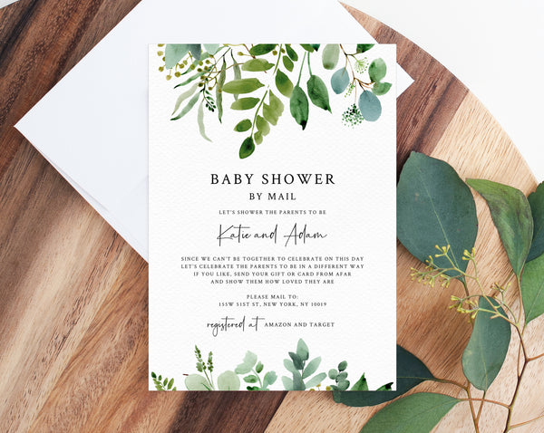 Baby Shower By Mail Template, Social Distancing, Greenery Baby Shower Invitation, Long Distance Baby Shower Template, Templett, B48