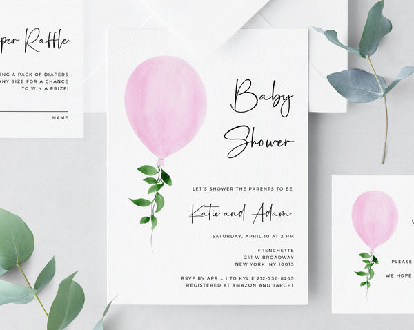Baby Shower Invitation Template, Printable Baby Shower, Pink Balloon Baby Shower Invitation, Pink Girl Baby Shower, Templett, B36