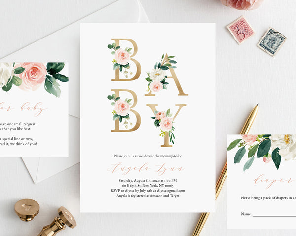 Blush and Gold Baby Shower Invitation Template, Printable Baby Shower, Baby Shower Invitation Set, Instant Download, Templett, B29