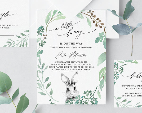 Bunny Baby Shower Invitation Template, Printable A Little Bunny Baby Shower Invitation Set, Easter, Instant Download, Templett, B39