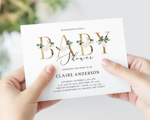 Greenery & White Floral Baby Shower Invitation Template, Printable Greenery and Gold Floral Baby Shower Invitation, Templett, B42