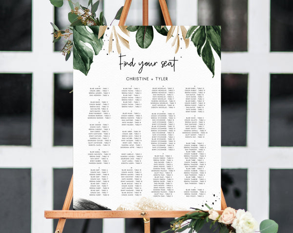 Tropical Wedding Seating Chart Template, Table Chart Printable, Palm Leaves Alphabetical Seating Chart Board, Wedding Sign, Templett, W44
