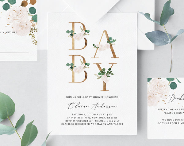 White and Greenery Baby Shower Template, Printable White Floral Baby Shower Invitation, Gold and White Baby Shower, Templett, B42