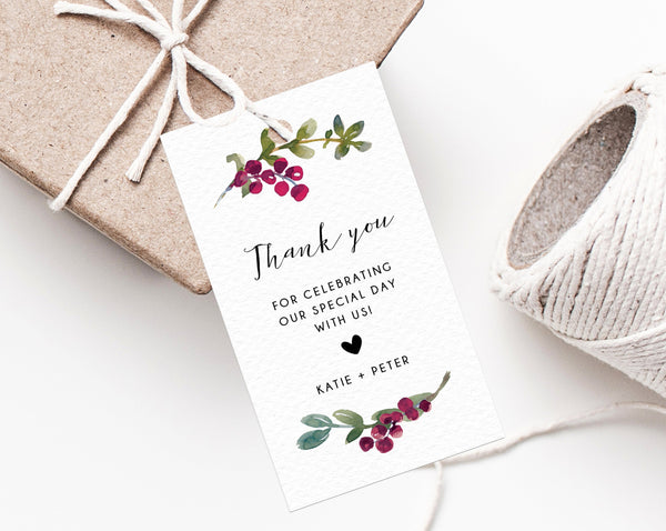 Winter Berries Christmas Gift Tag Template, Winter Wedding Favor Tag, Winter Burgundy Wedding Favor Label, Holidays, Templett, W53