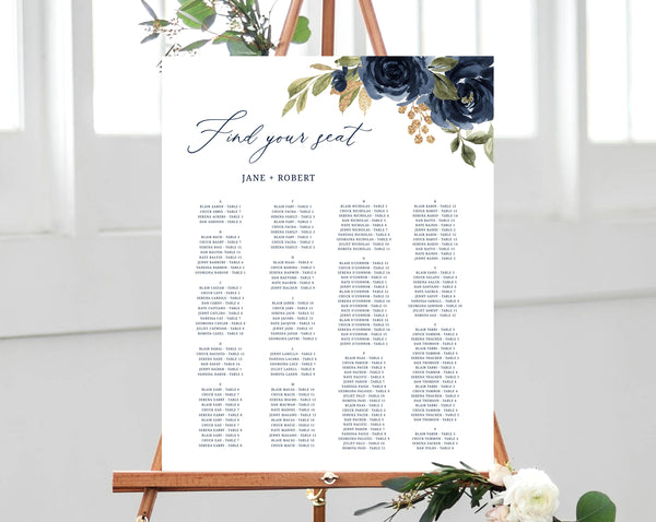 Navy & Gold Alphabetical Wedding Seating Chart Template, Seating Chart Printable, Table Chart, Seating Board, Wedding Sign, Templett, W27