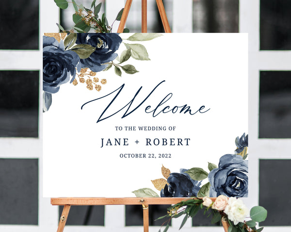Navy and Gold Wedding Welcome Sign Template, Welcome to the Wedding Printable, Navy Welcome Board, Instant Download, Templett, W27