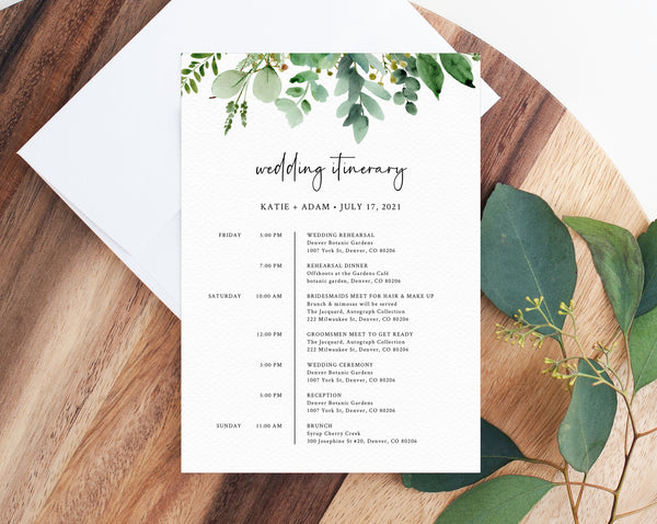 Wedding Itinerary Template, Greenery Wedding Timeline, Wedding Agenda, Wedding Timeline Program, Instant Download, Templett, W48