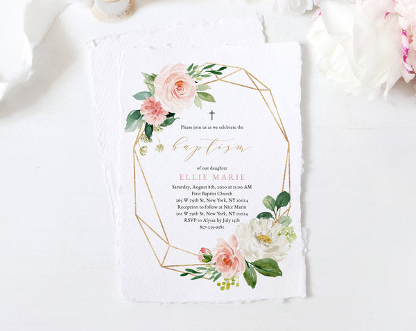 Blush & Gold Baptism Invitation Template, Printable Floral Baby Baptism Invitation, Blush Flowers Invite Template, Templett, B29