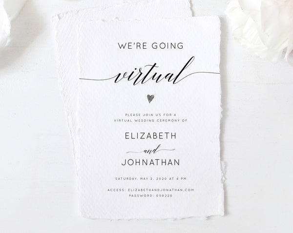 Virtual Wedding Ceremony Invitation Template, Printable Virtual Wedding Invite, Social Distancing, New Wedding Plan Announcement, W02