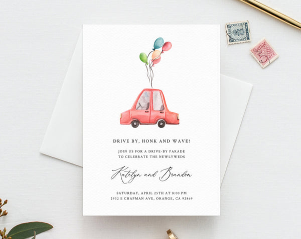 Drive By Wedding Parade Invitation, Printable Drive By Celebration Invite, Social Distancing, Digital File, Instant Download, Templett