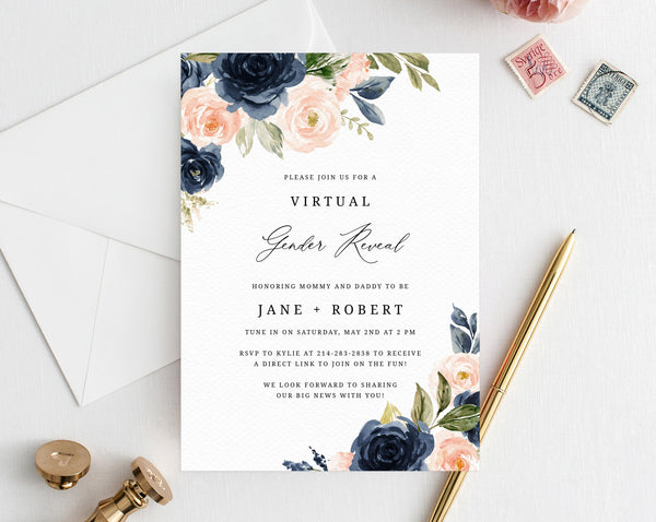 Navy and Blush Virtual Gender Reveal Invitation Template, Live Video Gender Reveal, Instant Download Gender Reveal, Templett, B34
