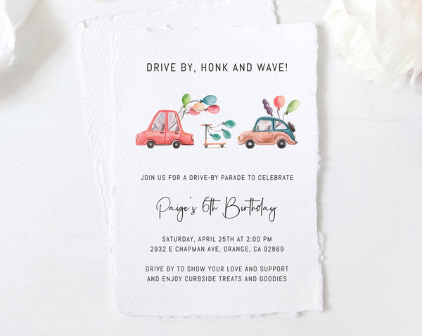 Drive By Birthday Parade Invitation, Printable Drive By Celebration Invite, Social Distancing, Digital File, Instant Download, Templett