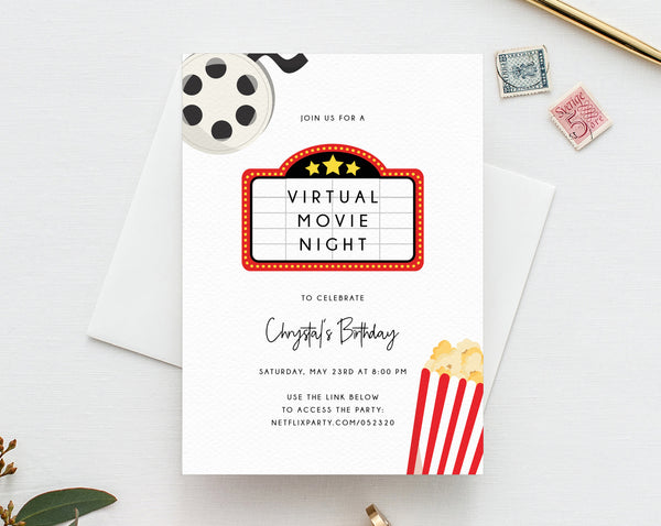 Virtual Movie Night Invitation Template, Birthday Movie Party Invite, Social Distancing, Digital File, Instant Download, Templett