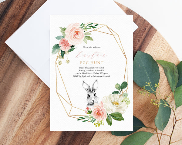 Easter Egg Hunt Invitation Template, Printable Egg Hunt Invite, Easter Bunny Event Invitation, Easter Party, Instant Download, Templett