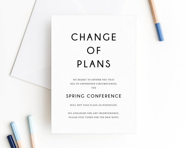 Postponed Event Announcement, Printable Gathering Postponement, Change of Plans, Conference Cancellation, Date Change, Insert, W25