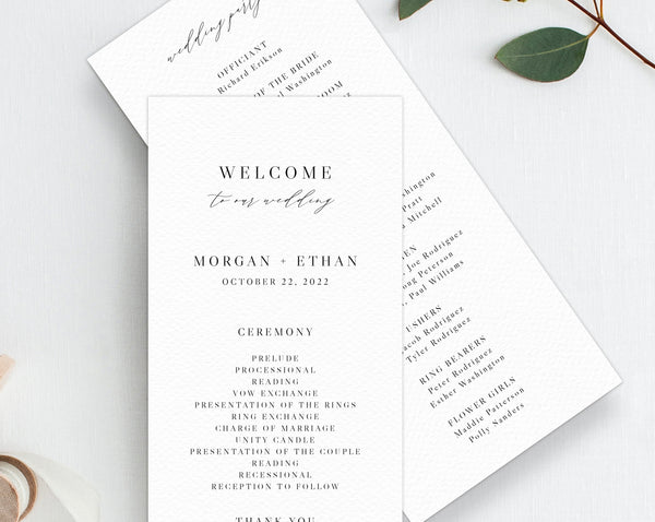 Wedding Program Template, Printable Wedding Program, Minimalist Wedding Program, Editable Ceremony Programs, Instant Download, Templett, W52
