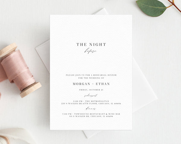 Rehearsal Dinner Invitation Template, Printable Wedding Rehearsal Invitation, Editable The Night Before Rehearsal Invite, Templett, W52
