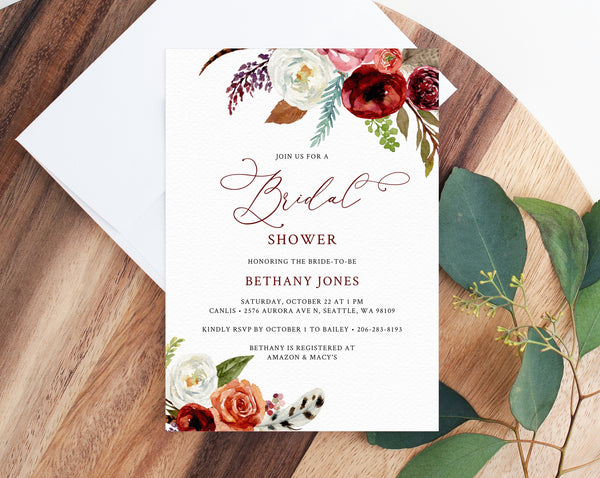 Burgundy Bridal Shower Invitation Template, Fall Bridal Shower Invite, Boho Feathers Burgundy Floral Bridal Shower Invites, Templett, W43