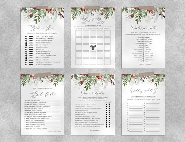 Bridal Shower Game Templates Bundle, Winter Bridal Shower Games Instant Download, Christmas Engagement Party, Wedding Shower, Templett, W46
