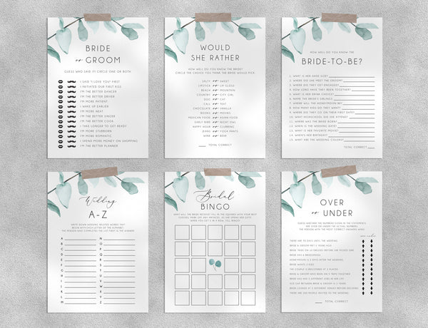 Eucalyptus Bridal Shower Game Templates Bundle, Greenery Bridal Shower Games, Engagement Party, Wedding Shower, Templett, W21