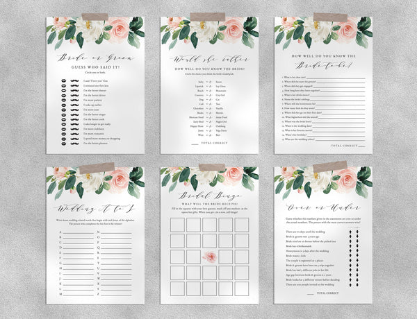 Bridal Shower Game Templates Bundle, Blush Floral Bridal Shower Games Instant Download, Engagement Party, Wedding Shower, Templett, W29