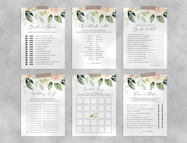 Bridal Shower Game Templates Bundle, Peach Floral Bridal Shower Games Instant Download, Engagement Party, Wedding Shower, Templett, W41
