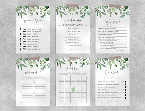 Bridal Shower Game Templates Bundle, Greenery Bridal Shower Games Instant Download, Engagement Party, Wedding Shower, Templett, W48