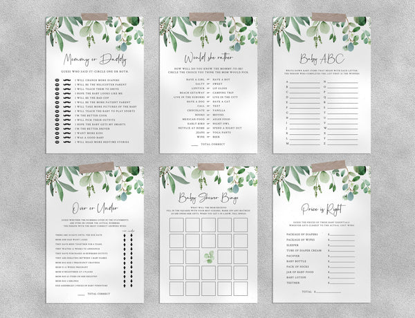 Greenery Baby Shower Game Templates Bundle, Eucalyptus Baby Shower Games Instant Download, Templett, B48