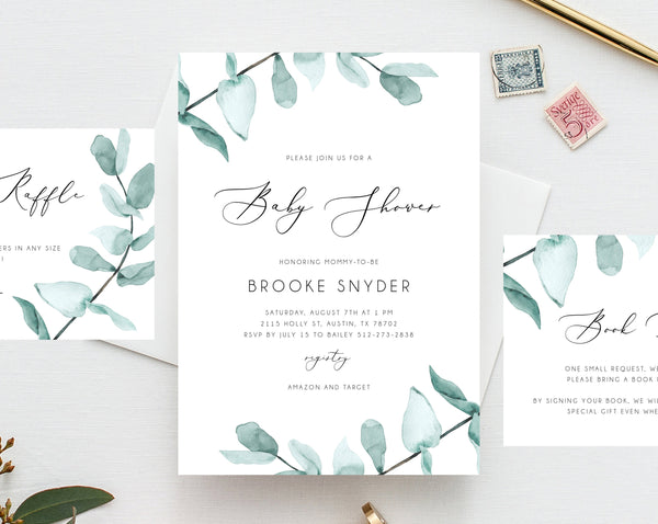 Baby Shower Invitation Template, Printable Baby Shower, Watercolor Greenery Baby Shower Invitation, Eucalyptus Leaves Shower, Templett, B21